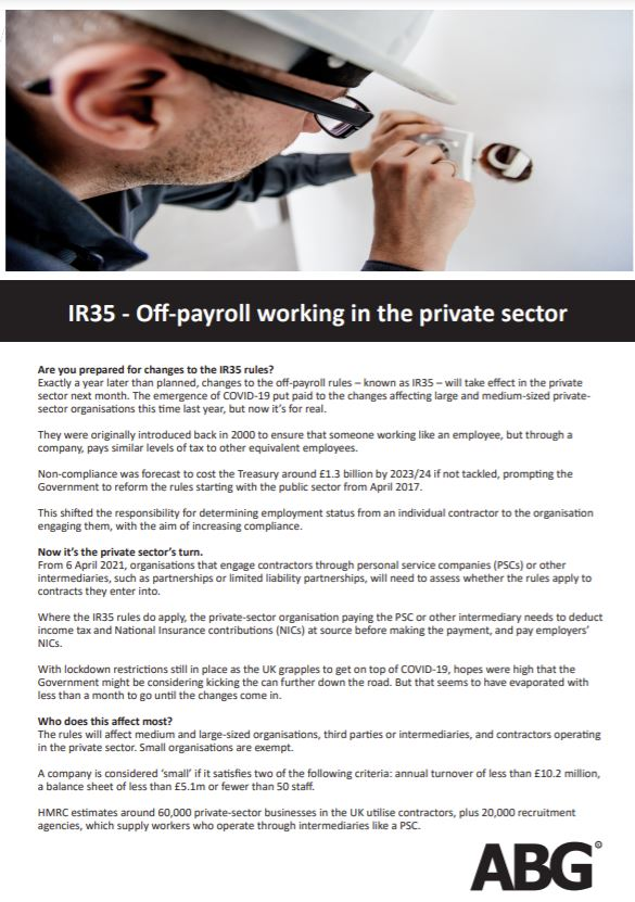IR35 Off payroll working in the private sector